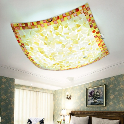 Color Shell Square Flush Mount Light European Style Ceiling Fixture for Bedroom