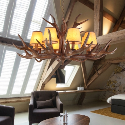 Dining Room Antlers Chandelier with Tapered Shade Resin 4/6/8 Lights Vintage Style Hanging Light