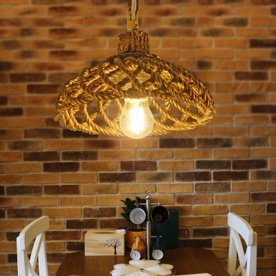 Dome Pendant Lighting Dining Room Single Light Rustic Hanging Light in Brown/White