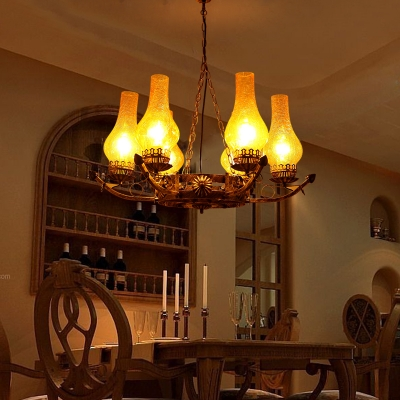 Glass and Metal Kerosene Hanging Lamp 6 Lights Antique Style Pendant Lighting for Living Room Coffee Shop