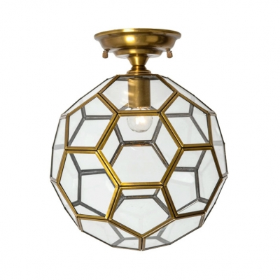 Glass Polyhedron Ceiling Light Single Light Vintage Style Light Fixture in Brass for Hallway