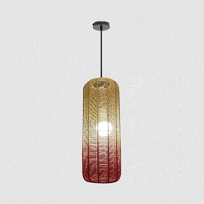 Hand Knitted Cylinder Pendant Light Rustic 1 Bulb Hanging Lamp in Red/Green, 21