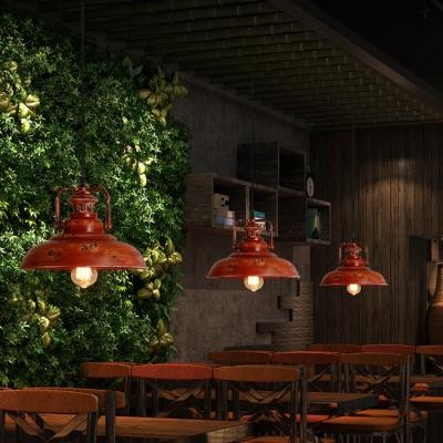 Industrial Barn Hanging Ceiling Light Single Light Distressed Metal Pendant Lighting in Red