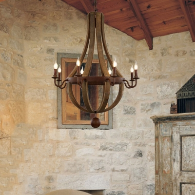 Living Room Candle Shape Chandelier Metal and Wood 8 Lights American Vintage Pendant Light