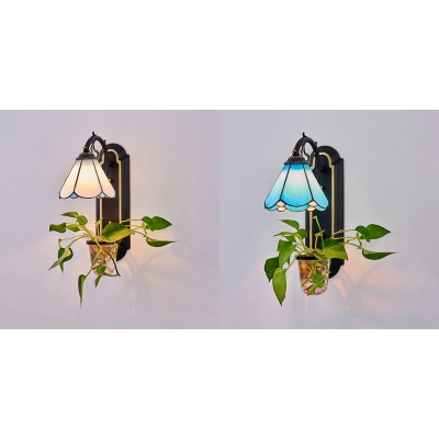 Living Room Cone Wall Light Metal and Glass 1 Light Tiffany Style Blue/White Sconce Light