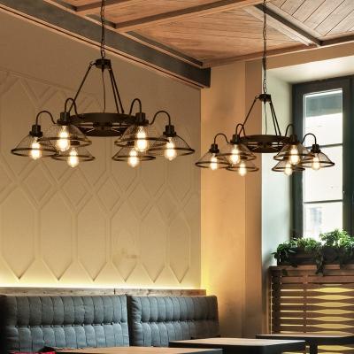 Metal Mesh Flared Chandelier 6 Lights/8 Lights Industrial Pendant Lighting in Black with Gooseneck