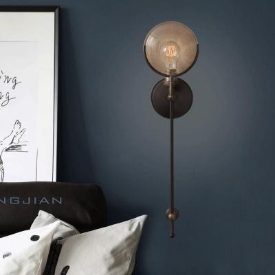 Metal Round Shape Wall Light 1 Light Vintage Style Sconce Light for Bedroom Living Room