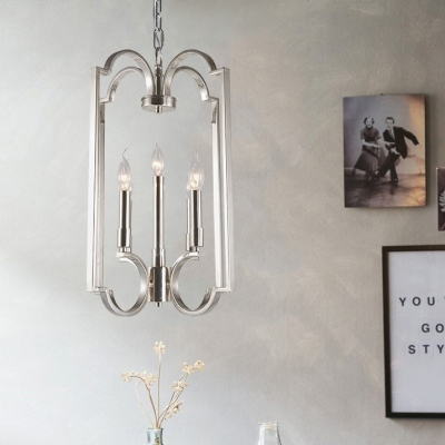 Nickle Candle Shape Ceiling Light 5 Lights Industrial Style Metal Chandelier for Living Room