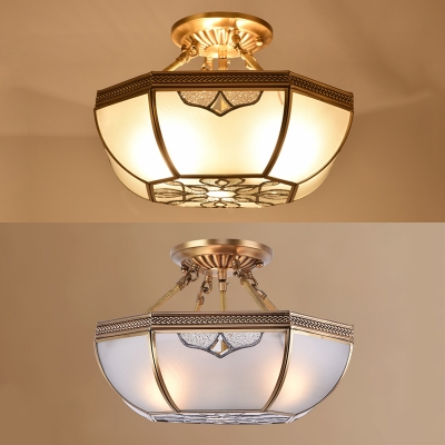 Octagon Dining Room Semi Flush Mount Light Glass 3 Lights Antique Style Ceiling Light
