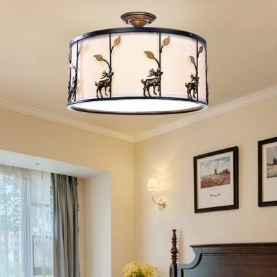Office Drum Semi Flush Light with Deer Decoration Acrylic 5 Lights Rustic Ceiling Light