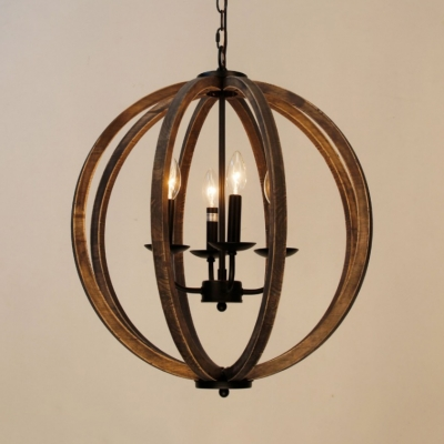 Rustic Style Globe Shade Hanging Light Metal And Wood 4 Lights Black