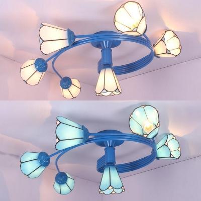 Rustic White/Blue Ceiling Light Cone 6 Lights Glass Semi Flush Mount Light for Living Room