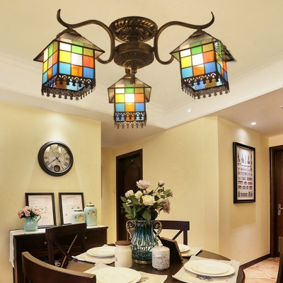 Stained Glass House Ceiling Fixture 3 Lights Tiffany Style Semi Flush Mount Light for Bedroom