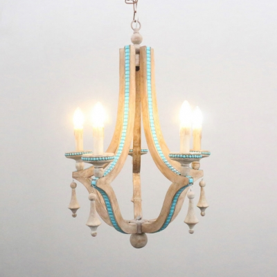 Traditional Candle Shape Pendant Lighting 5 Lights Wood Chandelier Light in White for Hotel Foyer