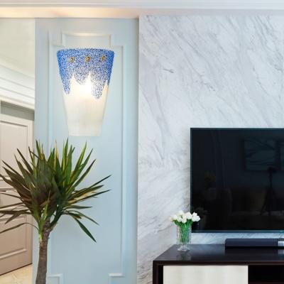 Up Lighting Blue Sconce Light 1 Light Mediterranean Style Glass Wall Lamp for Bedroom