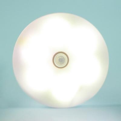 USB Charging 6 LED Night Light Motion Sensing and Dusk to Dawn Sensing Stick On Light with White/Yellow Lighting