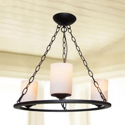 3/6 Lights Ring Chandelier Light Vintage Style Metal and Frost Glass Pendant Lighting in Black