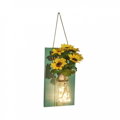Decorative Fairy Sting Light with Bottle and Flower Bedroom Dining Room Wood and Clear Glass Twinkle Light
