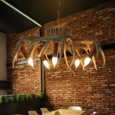 6 Lights Antlers Decoration Chandelier Antique Style Resin Ceiling Light for Dining Room Restaurant