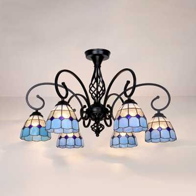 6 Lights Cone Ceiling Lamp Tiffany Style Antique Metal Semi Flush Ceiling Light in White/Blue/Yellow/Beige