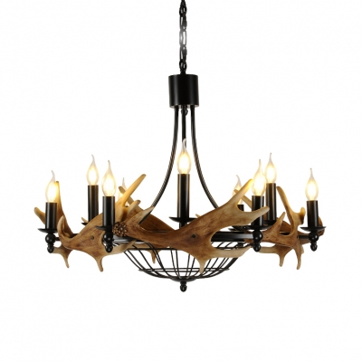 9 Lights Candle Chandelier with Deer Horn Decoration Rustic Style Resin and Metal Hanging Light in Black