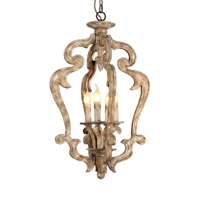 American Rustic Candle Shape Hanging Light 4 Lights Wood Pendant Lighting for Dining Room Foyer