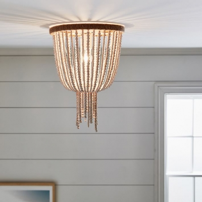 Antique Style Bell Shape Flush Mount Ceiling Fixture Wood Beads Single Light White Ceiling Light For Indoor Beautifulhalo Com