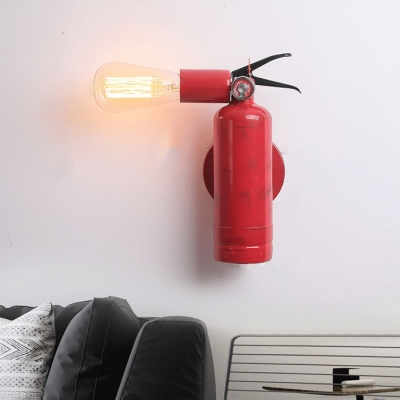 Antique Style Red Wall Lamp with Fire Extinguisher Shape Single Light Metal Wall Sconce for Bedroom