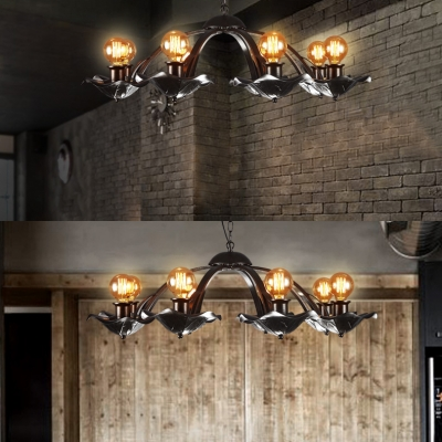 Black Candle Hanging Light 8 Lights Vintage Metal Chandelier Light in Black