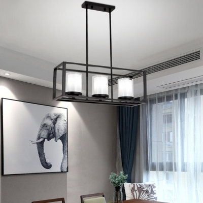Black Rectangle Pendant Lighting 3/5/6 Lights Vintage Style Metal and Glass Island Light for Kitchen