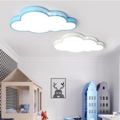Blue Cloud Shape Flush Ceiling Light Lovely Acrylic Metal Light Fixture with White Lighting for Boy Girl Bedroom