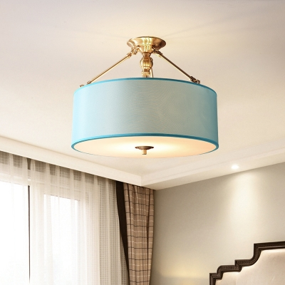 Blue Drum Ceiling Light 4 Lights American Rustic Fabric Semi Flush Mount Light for Living Room