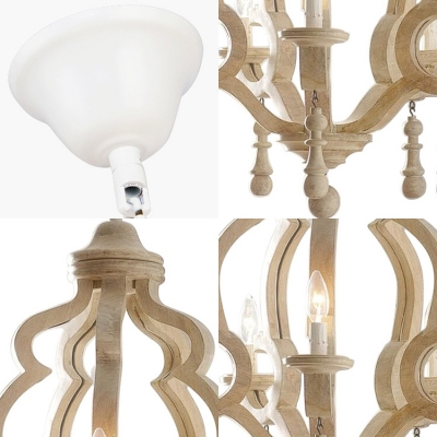 Candle Shape Bedroom Pendant Lighting Wood and Metal 5 Lights Decorative Chandelier Light in White