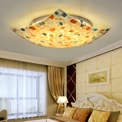 Color Square Flush Mount Light Contemporary Shell Overhead Light for Bedroom