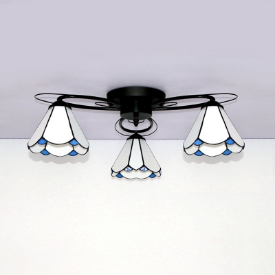 Conical Semi Ceiling Mount Light 3 Lights Tiffany Style Glass Overhead Light for Bedroom