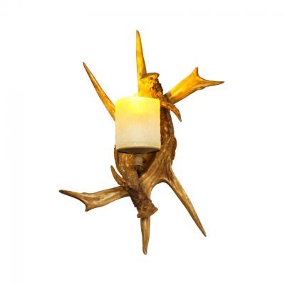 Deer Horn Shape Wall Light Single Light Rustic Style Resin and Glass Wall Lamp for Restaurant
