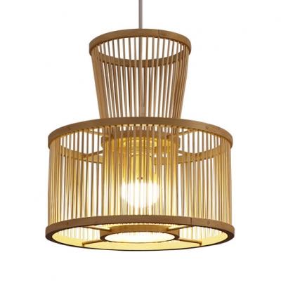 Drum Shape Rattan Ceiling Light Bedroom Single Light Vintage Style LED Pendant Light Fixture in Beige