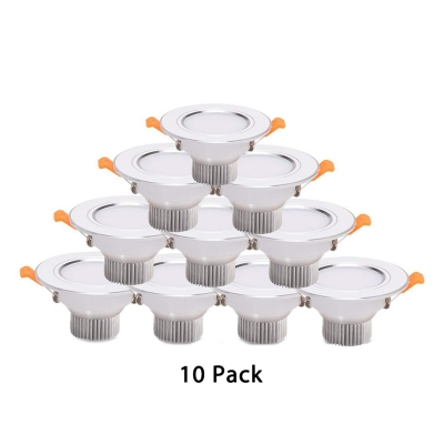 Energy Saving 3W Recessed Light Foyer Pack of 10 Round Metal Light Fixture in White