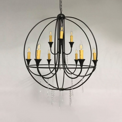 Globe Shape Living Room Chandelier Metal 9 Lights Traditional Pendant Lighting with Clear Crystal Decoration in Black