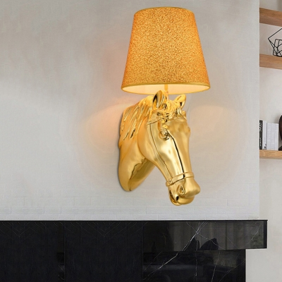 Gold Tapered Shade Wall Lamp with House Decoration 1 Light Classic Resin Sconce Light for Hotel Shop