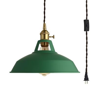 Green Barn Shape Pendant Light 1 Light Industrial Metal Plug In Ceiling Light for Shop Cafe