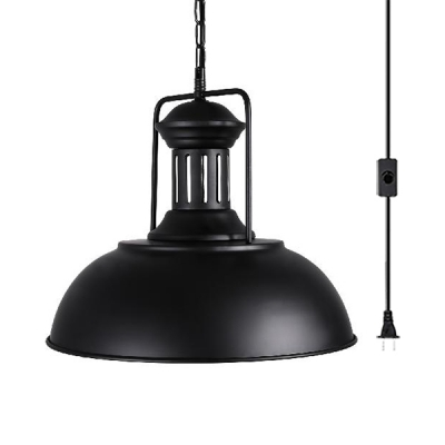 Dome Shade Plug In Ceiling Light Metal 1 Light Antique Style Black Hanging Light for Living Room