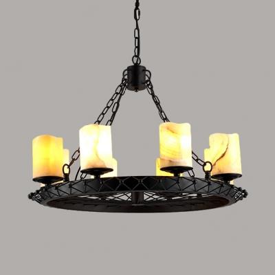 Industrial Wheel Shape Chandelier Metal 8 Lights Black Pendant Lighting for Restaurant Bar