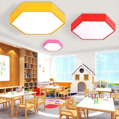 Lovely Hexagonal Shape Flush Ceiling Light Acrylic Metal Overhead Light in Blue/Yellow/Green