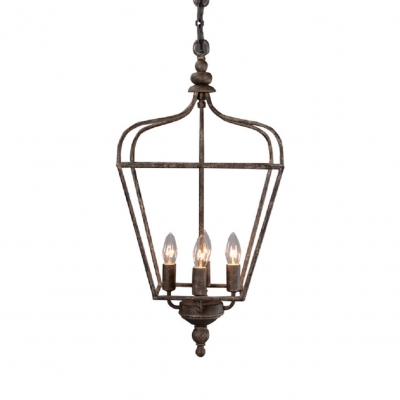 Metal Cage Candle Shape Ceiling Light Balcony Restaurant 4 Lights Vintage Style Chandelier