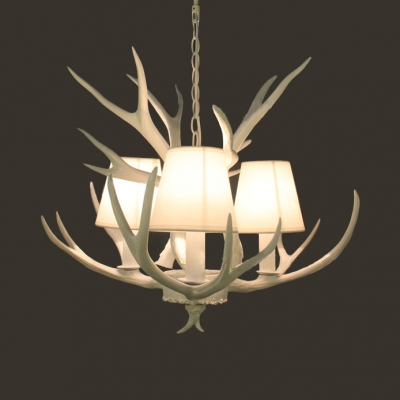 Rustic Style Tapered Shade Chandelier with Deer Horn 3 Lights Resin Pendant Light in White