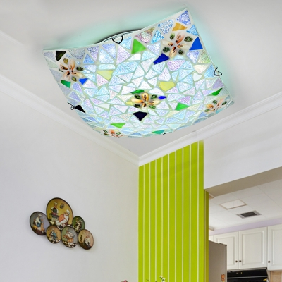 Shell Square Ceiling Light Living Room Contemporary Stained Glass Flush Mount Light