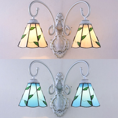 Simple Style Cone Wall Light with Leaf 2 Lights Metal Sconce Lamp for Dining Room Cafe
