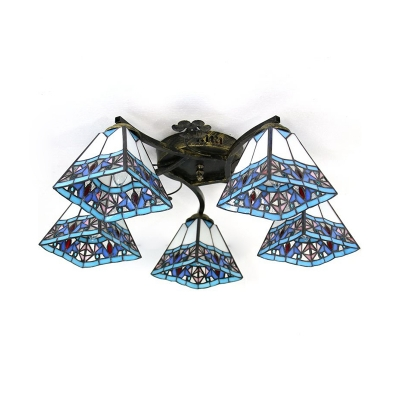 Tapered Foyer Semi Flush Mount Light Stained Glass 5 Lights Rustic Style Ceiling Light