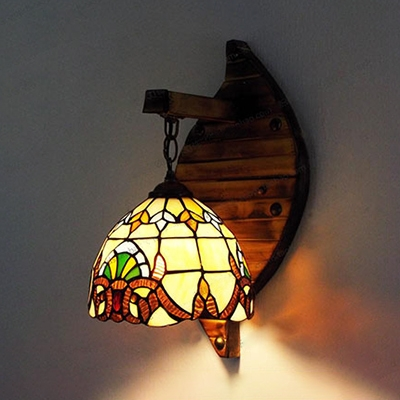 Victoria/Baroque Sconce Light Hotel Restaurant Stained Glass Wood 1 Light Wall Lamp